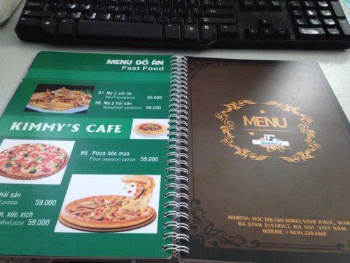 In menu đẹp giá rẻ cho quán pizza