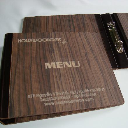 In menu bìa gỗ cao cấp cho nhà hàng khách sạn