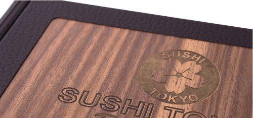 Menu bìa gỗ sang trọng cho nhà hàng phong cách Nhật