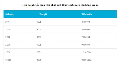 Bảng giá in tem decal giấy giá rẻ chữ nhật 4X6 cán bóng tại Hà Nội