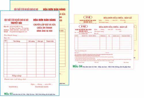 In hóa đơn bán lẻ 2 liên giá rẻ tại Hà Nội