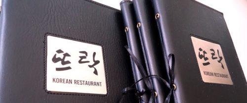 in menu bìa da cao cấp cho nhà hàng Hàn Quốc