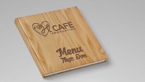 Mẫu menu bìa gỗ quán cafe đẹp sang trọng