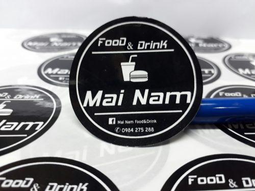 Tem dán quán đồ uống Mai Nam giá rẻ