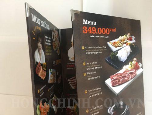 Mẫu menu bồi gỗ gấp cho quán nướng Hàn Quốc