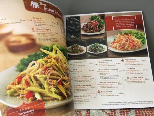 Menu nhà hàng quán ăn Thái đẹp ấn tượng