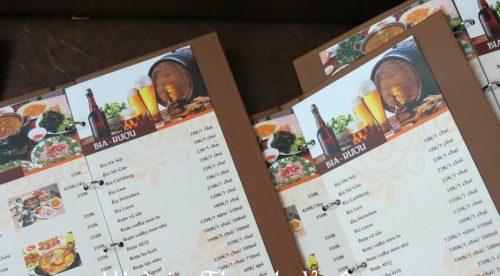 Mẫu menu quán nhậu bìa da bền đẹp chống nước