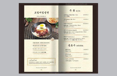 Menu bìa da đẹp quán ăn Nhật Bản